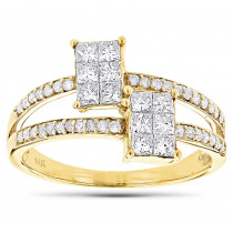 14K Gold Engagement Ring w Princess Cut Diamonds .95ct