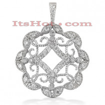 14K Gold Floral Cut-Out Pendant 0.73ct