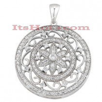 14K Gold Floral Filigree Diamond Pendant 0.74ct