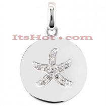 14K Gold Flower Diamond Pendant 0.11ct