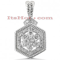 14K Gold Flower Diamond Pendant 0.99ct