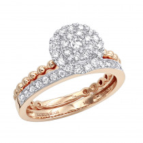 14K Gold Halo Diamond Engagement Ring Wedding Band Set 0.7ct by Luxurman