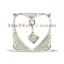 14K Gold Heart Cut-Out Diamond Pendant 0.30ct