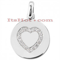 14K Gold Heart Pendant 0.16ct