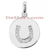 14K Gold Horseshoe Diamond Pendant 0.36ct