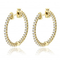 14K Gold Inside Out Diamond Hoop Earrings 1.85ct