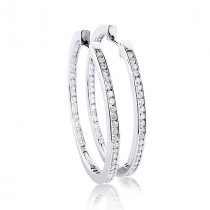 14K Gold Inside Out Diamond Hoop Earrings 4.6ct