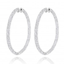 14K Gold Inside Out Diamond Hoop Earrings 5.40ct
