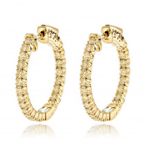 14K Gold Inside Out Yellow Diamond Hoop Earrings 1.33ct by Luxurman