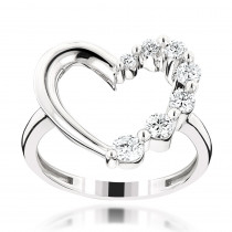 14K Gold Journey Heart Diamond Ring 0.6ct
