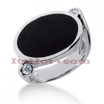 14K Gold Ladies Black Onyx Ring 0.10ct