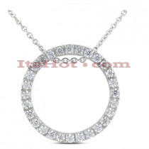 14K Gold Ladies Circle Diamond Necklace 0.64ct