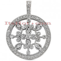 14K Gold Ladies Circle Diamond Necklace 0.80ct