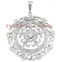 14K Gold Ladies Circle Diamond Necklace 1.12ct