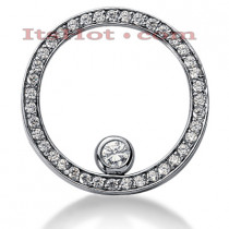 14K Gold Ladies Circle Diamond Pendant 1.23ct