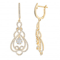 14K Gold Ladies Designer Earrings 2.2ct Diamond Drop Earrings