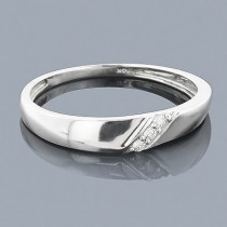 Thin 14K Gold Ladies Diamond Wedding Band 0.04ct