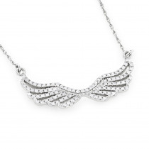 14k Gold Ladies Diamond Wings Necklace Pendant by Luxurman