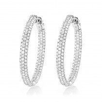 Large 5 Carat 1.5in Ladies Inside Out Diamond Hoop Earrings in 14k Gold
