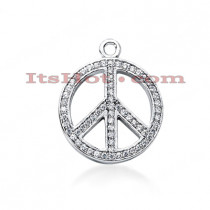 14K Gold Ladies Peace Diamond Necklace 0.48ct