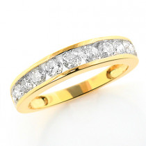 Thin 14K Gold Ladies Round Diamond Wedding Band 1.18ct