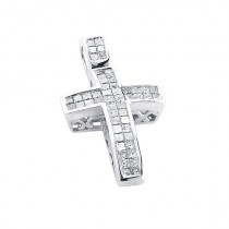 14K Gold Medium Size Princess Diamond Cross Pendant 1.5ct