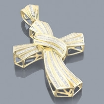 14K Yellow Gold Large Mens Baguette Diamond Cross Pendant 4ct