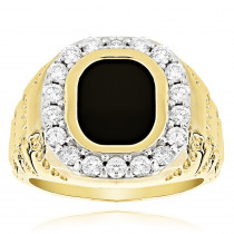 14K Gold Nugget Mens Black Onyx Diamond Ring 1.5ct