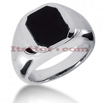 14K Gold Men's Black Onyx Ring
