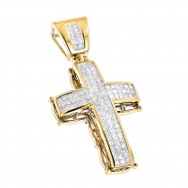 14K Gold Mens Cross Pendant w Princess Diamonds 2.25ct