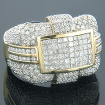 14K Gold Mens Designer Diamond Ring 4.01ct