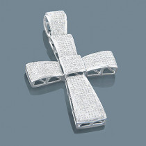 14K Gold Mens Diamond Cross Pendant 3.00ct