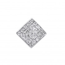 14K Gold Mens Diamond Earring Stud Invisible Princess Cut Diamond 0.75ct