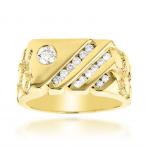 14K Gold Nugget Mens Diamond Ring 0.63ct
