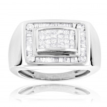 14k Gold Mens Diamond Ring Princess Baguette Diamonds Pinky Rings 1.4ct