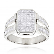 Closeout Pinky Rings 14K Gold Mens Diamond Ring Princess Cut Diamonds 2.5ct