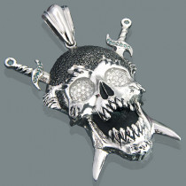 14K Gold Mens Diamond Skull Pendant w Swords 9ct