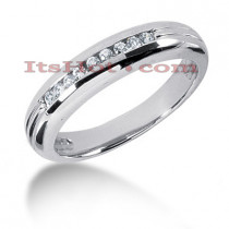14K Gold Mens Diamond Wedding Band 0.23ct