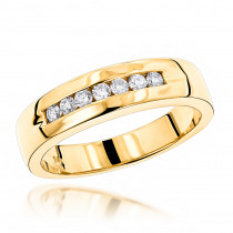 14K Gold Men's Diamond Wedding Band 0.28ct
