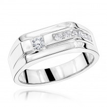 14K Gold Men's Diamond Wedding Band 0.45ct