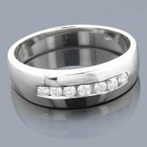 14K Gold Men's Diamond Wedding Band 0.63ct