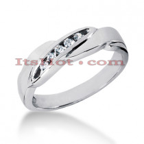 Affordable 14K Gold Mens Diamond Wedding Ring 0.12ct 5 Stone