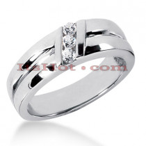 14K Gold Men's Diamond Wedding Ring 0.18ct
