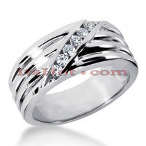 14K Gold Men's Diamond Wedding Ring 0.24ct