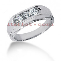 14K Gold Mens Diamond Wedding Ring 0.60ct