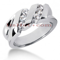 14K Gold Men's Diamond Wedding Ring 0.60ct