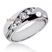 14K Gold Men's Diamond Wedding Ring 0.64ct