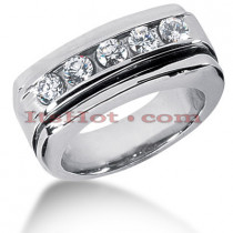 14K Gold Men's Diamond Wedding Ring 0.75ct