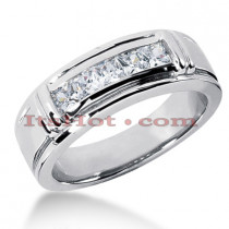 14K Gold Men's Diamond Wedding Ring 0.85ct