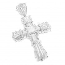 Hip Hop Jewelry 14K White Gold Large Diamond Cross Pendant For Men 3.72ct